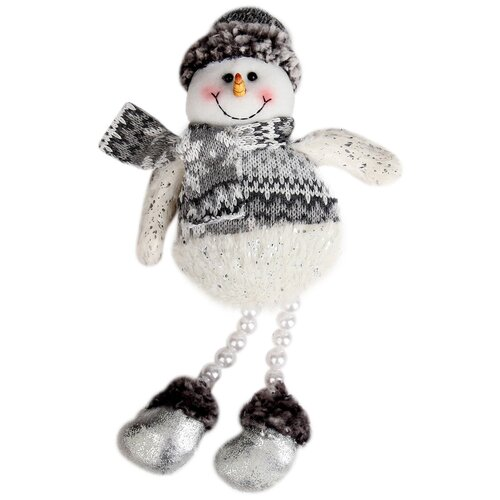 Мягкая игрушка Зимнее волшебство Снеговик - ножки из бусинок 27 см
