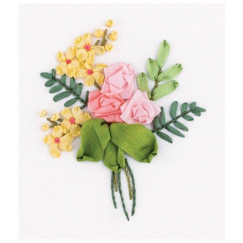 Купить PANNA Набор для вышивания нитками и лентами Живая картина Букетик роз 8 x 6.5 см (ЖК-2141 / JK-2141), Наборы для вышивания