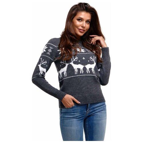 Новогодний свитер, классический скандинавский орнамент с Оленями и снежинками, натуральная шерсть, серый цве, размер XS