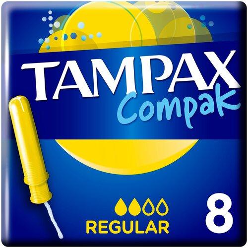 TAMPAX тампоны Compak Regular с аппликатором, 2 капли, 8 шт. tampax тампоны компак с аппликатором регуляр 8 tampax compak