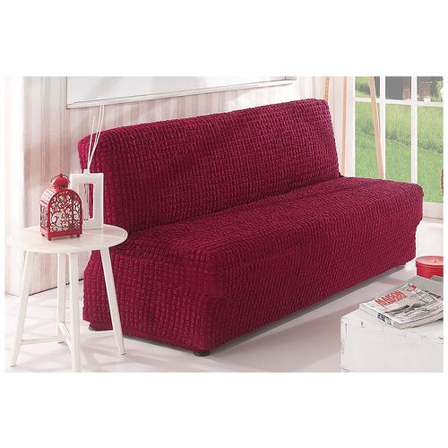 Фото - Чехол KARNA для двухместного дивана без подлокотников, бордовый чехол для двухместного дивана первый мебельный чехол для дивана стамбул двухместный без юбки