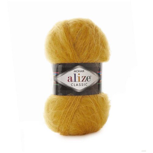 Купить Пряжа для вязания Alize 'Mohair classic new' 100гр. 200м (25%мохер, 24%шерсть, 51%акрил) (02 шафран), 5 мотков