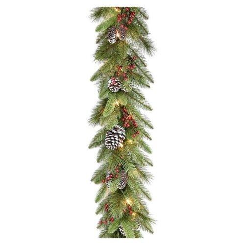 Гирлянда хвойная ЛЕСНАЯ СЮИТА, с шишками и ягодами, с лампочками, 274 см, National Tree Company