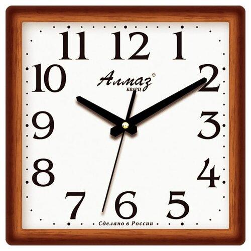 Фото - Часы настенные кварцевые Алмаз M36 коричневый / белый часы настенные кварцевые алмаз a87 коричневый белый