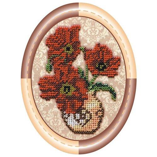 Купить Набор для вышивания бисером АБРИС АРТ АМ-002 Ваза с маками 15х15 см, ABRIS ART, Наборы для вышивания