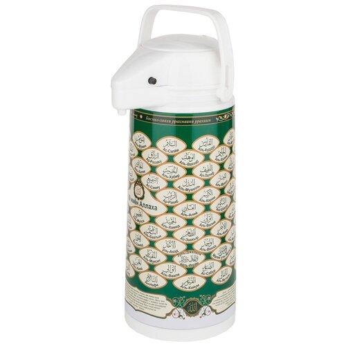 Помповый термос Agness 910-660, 1.9 л белый/зеленый