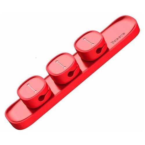 Держатель Baseus Peas Cable Clip красный