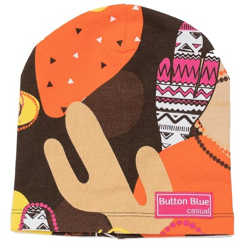 Купить Шапка-бини Button Blue 121BBGMX73050814 размер 52, коричневый, Головные уборы