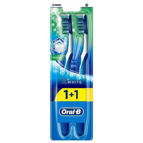 Зубная щетка Oral-B 3D White свежесть: средней жесткости, в ассортименте, 2 шт.
