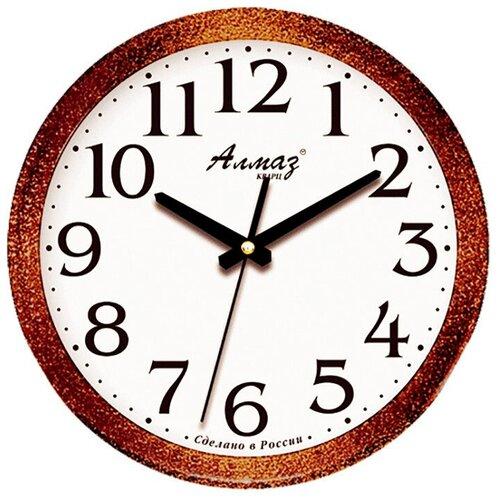 Фото - Часы настенные кварцевые Алмаз E41 темно-коричневый/белый часы настенные кварцевые алмаз a87 коричневый белый