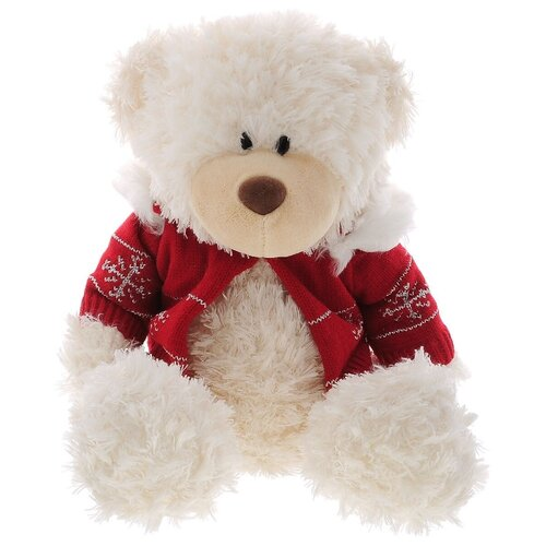 Белый медведь в красном свитере 35см