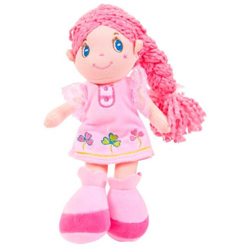 Фото - Мягкая игрушка ABtoys Кукла с розовой косой в розовом платье 20 см мягкая игрушка abtoys кукла рыжая в голубом платье 20 см