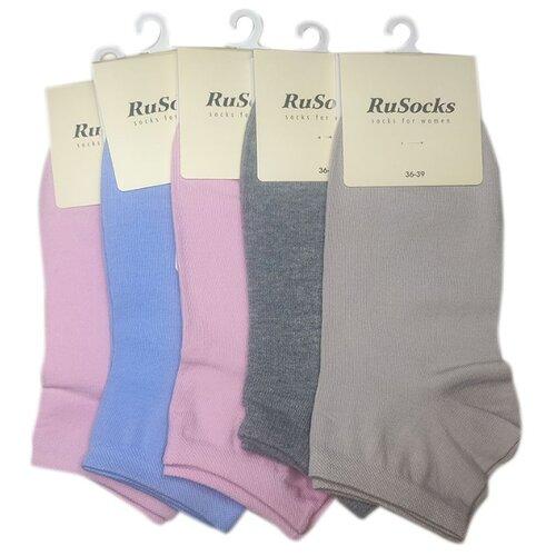 Комплект коротких женских носков из хлопка светлых цветов, 5 шт, р-р 36-39