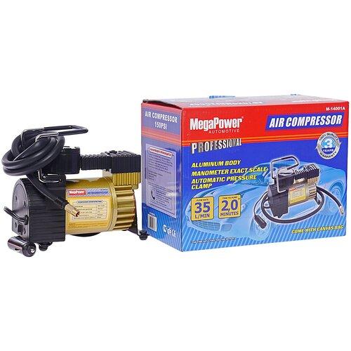 Автомобильный компрессор MegaPower M-14001A черный/золотистый