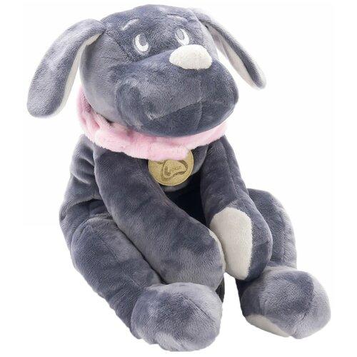 Мягкая игрушка Lapkin Собака серая в розовом шарфике 30 см