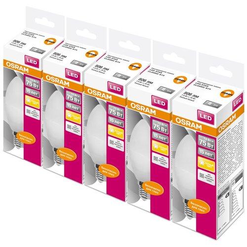 Фото - Упаковка светодиодных ламп 5 шт OSRAM LED Star Classic B 75 830, E14, 8Вт упаковка светодиодных ламп 5 шт osram led star classic b 75 830 e27 8вт