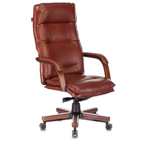 Компьютерное кресло Бюрократ T-9927WALNUT для руководителя, обивка: натуральная кожа, цвет: светло-коричневый компьютерное кресло бюрократ t 9927walnut low для руководителя обивка натуральная кожа цвет черный