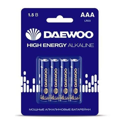 Фото - Батарейка AAA LR03 1,5V alkaline BL-4шт DAEWOO HIGH ENERGY (5030381) батарейка aaa ergolux lr03 alkaline bl 4 lr03 bl 4
