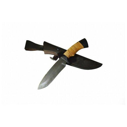 Нож Скиф, дамасская сталь, береста и черное дерево