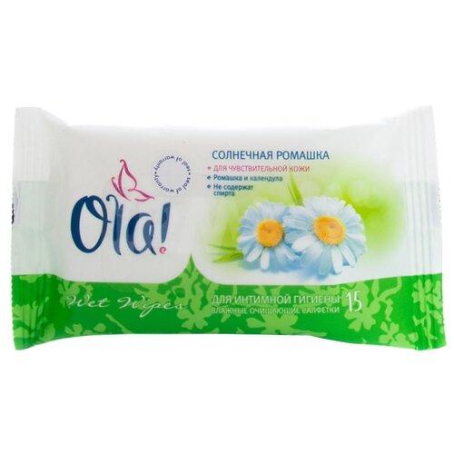 Ola! Влажные салфетки для интимной гигиены Солнечная ромашка, 15 шт
