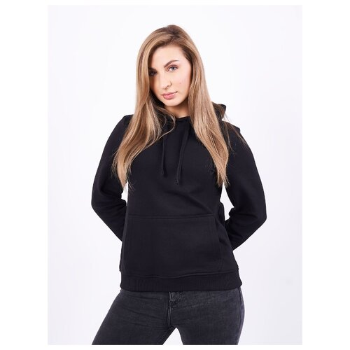 Толстовка женская, карман кенгуру, цвет чёрный, размер 46