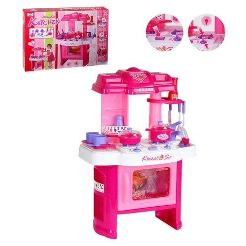 Купить Кухня детская игровая, на батарейках, 14 предметов: ирушечная посуда, столовые приборы, игрушечные продукты, в/к 44*9*60 см., Компания Друзей, Детские кухни и бытовая техника