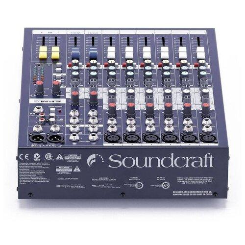 Soundcraft EPM6 Микшерный пульт, 6 моно + 2 стерео, микрофонные предусилители GB-30, 2 конфигурируемые аукс-шины, разъёмы XLR и jack, входы tape-in и выходы записи на RCA, 3-полосный EQ с параметрической серединой, 2-полосный EQ на стерео-входах, TRS разъемы на инсертах