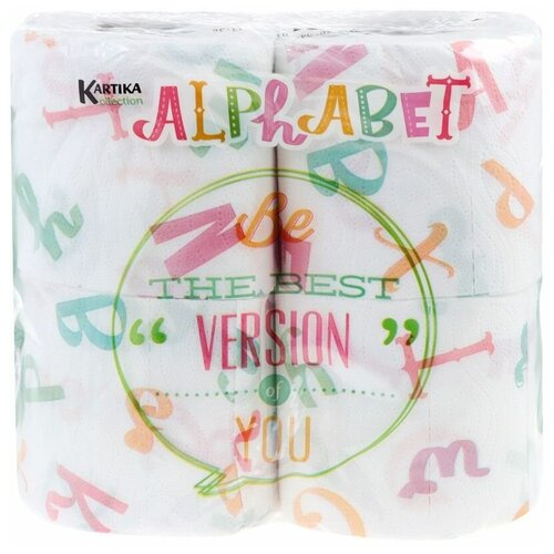 Купить Туалетная бумага World Cart Kartika collection Alphabet с рисунком трехслойная, 4 рул.