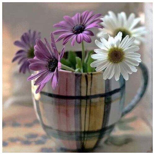 Купить Алмазная вышивка Яркие Грани Ромашки в чашке , размер 50х50см, 56 цветов