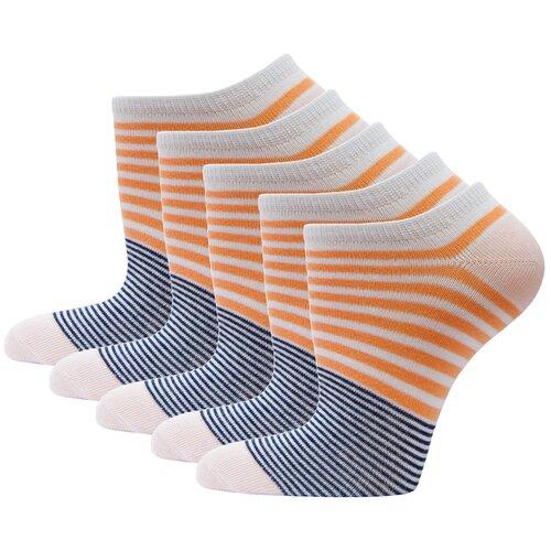 Носки спортивные женские короткие HOSIERY 71150 р 21-23 (33-36 размер обуви) оранжевые 5 пар