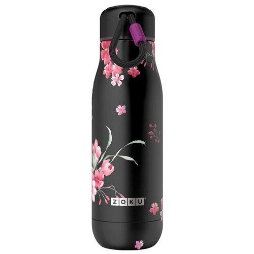 Термобутылка ZOKU ZK142 Midnight Floral, 0.5 л черный/розовый