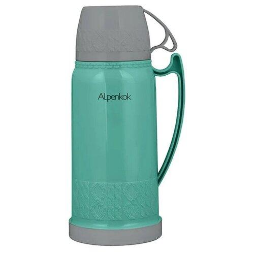 Классический термос Alpenkok со стеклянной колбой, 1.8 л зеленый/серый