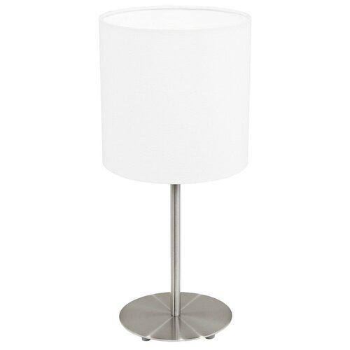 Лампа декоративная Eglo Pasteri 31594, E27, 60 Вт, цвет арматуры: серебристый, цвет плафона/абажура: белый настольная лампа eglo almera 89116 60 вт