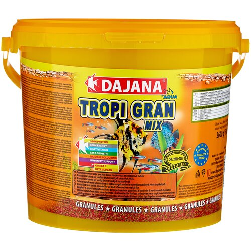 Фото - Сухой корм для рыб Dajana Pet Tropi Gran Mix 5000 мл 2600 г сухой корм для рыб dajana pet betta 100 мл 25 г