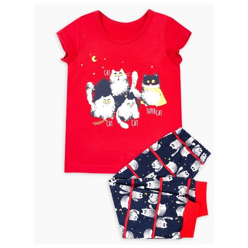 Пижама Веселый Малыш размер 104, красный/темно-синий/белый пижама веселый малыш размер 92 белый оранжевый