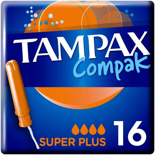 TAMPAX тампоны Compak Super Plus с аппликатором, 4 капли, 16 шт. тампоны tampax compak super plus 16 шт