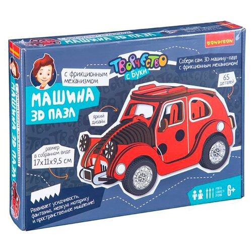 Купить Конструктор Творчество с Буки: Машина 3D пазл Красный автомобиль (65 деталей), BONDIBON, Пазлы