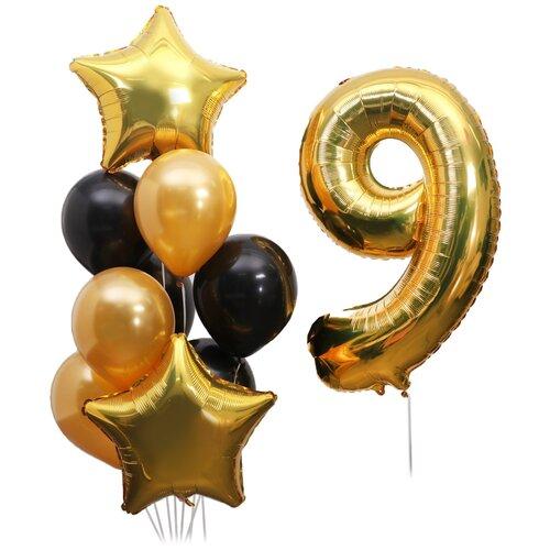 Букет из шаров «День рождения. 9 лет», набор 10 шт. + грузик, чёрно-золотой
