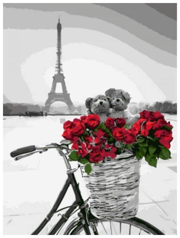 Купить Красные цветы в корзинке на фоне Эйфелевой башни по низкой цене с доставкой из Яндекс.Маркета