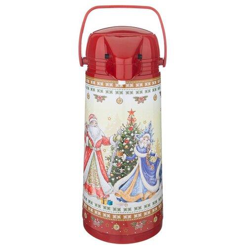 Помповый термос Agness Christmas Collection 910-674, 1.9 л красный