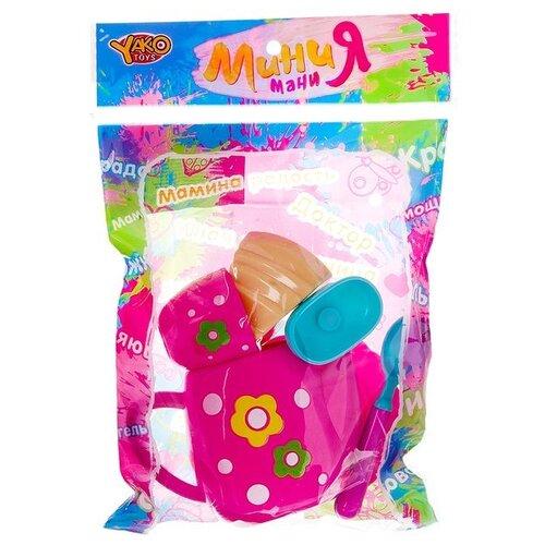 Купить Набор продуктов с посудой Yako Мини Мания - чайный набор с пирожным М6007 розовый, Игрушечная еда и посуда