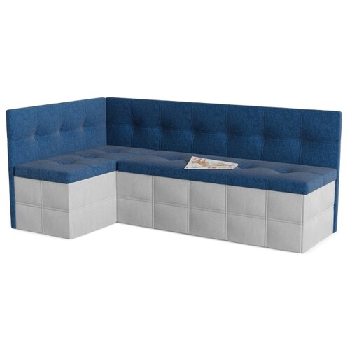 Кухонный диван SMART Домино левый голубой/белый