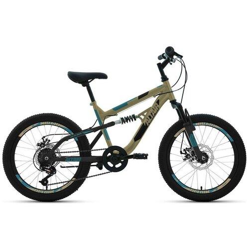 """Подростковый горный (MTB) велосипед ALTAIR MTB FS 20 Disc (2020) бежевый 14"""" (требует финальной сборки)"""