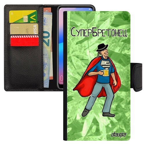 Чехол книжка на мобильный Хуавей P20 Про французский дизайн Супербретонец Смешной Шутка