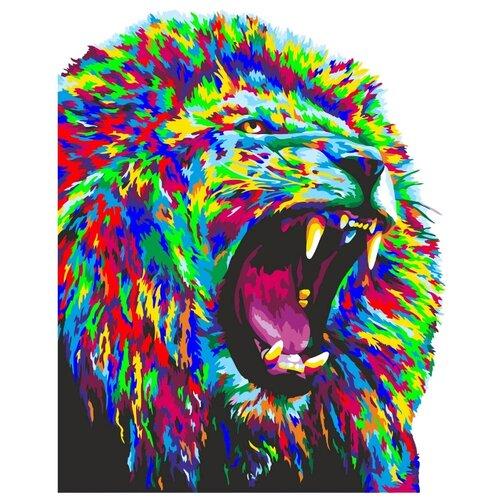 Купить H142 Набор для рисования по номерам 'Неоновый лев' 40*50см, Русская Живопись, Картины по номерам и контурам