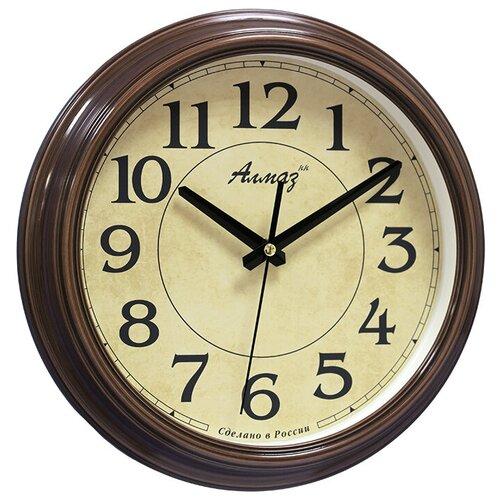 Фото - Часы настенные кварцевые Алмаз A20 бежевый/коричневый под дерево часы настенные кварцевые алмаз b97 коричневый бежевый