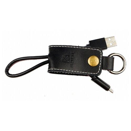 Кожаный кабель-брелок Floveme (Micro-USB) черный