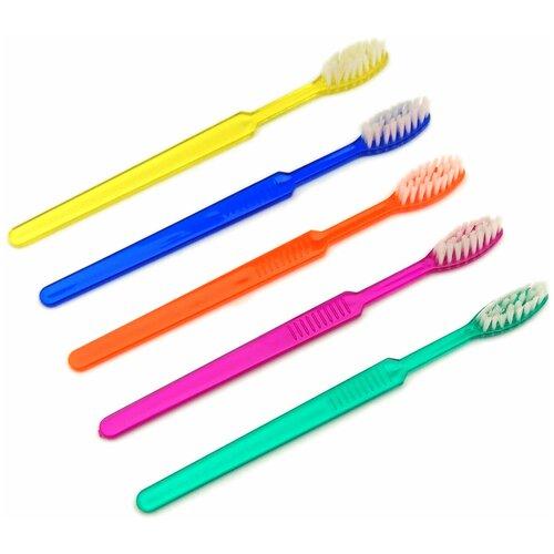 Зубная щетка Sherbet одноразовая с нанесенной зубной пастой Мятный мусс, синий / оранжевый / зеленый / фиолетовый / желтый, 100 шт.