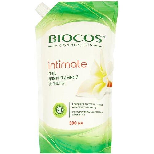 Фото - BioCos Гель для интимной гигиены с экстрактом хлопка и молочной кислотой, 500мл гипоаллергенная мусс пенка для интимной гигиены свежесть и комфорт с молочной кислотой