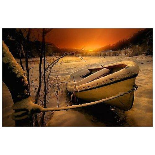 Купить Алмазная вышивка Яркие Грани Лодка в снегу , размер 50х33 см, 51 цвет